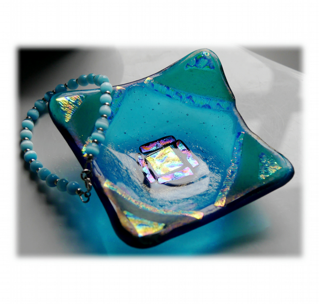 Fused Glass Trinket Dish 8cm Turquoise Dichroic Corner Decoration