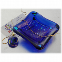 Fused Glass Trinket Dish 8.5cm Royal Blue Dichroic Deep
