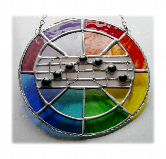 Sing a Rainbow Stained Glass Suncatcher Musical Notes 004