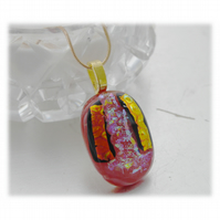 Dichroic Glass Pendant 111 Rose Pink gold shine Handmade with gold plated chain