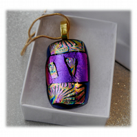 Dichroic Glass Pendant 112 Purple Pink Florentine Handmade and gold plated chain