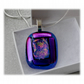 Dichroic Glass Pendant 114 Purple Blue Magic with silver plated chain