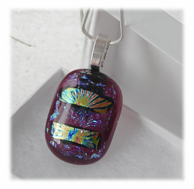Dichroic Glass Pendant 120 Cranberry Shimmer with silver plated chain