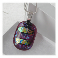 Dichroic Glass Pendant 119 Cranberry Shimmer with silver plated chain
