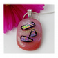 Dichroic Glass Pendant 116 Rose Pink Shimmer with silver plated chain