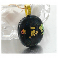 Dichroic Glass Pendant 119 Paw Prints Black Handmade and gold plated chain