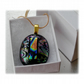 Dichroic Glass Pendant 118 Black Etched Tie Handmade and gold plated chain
