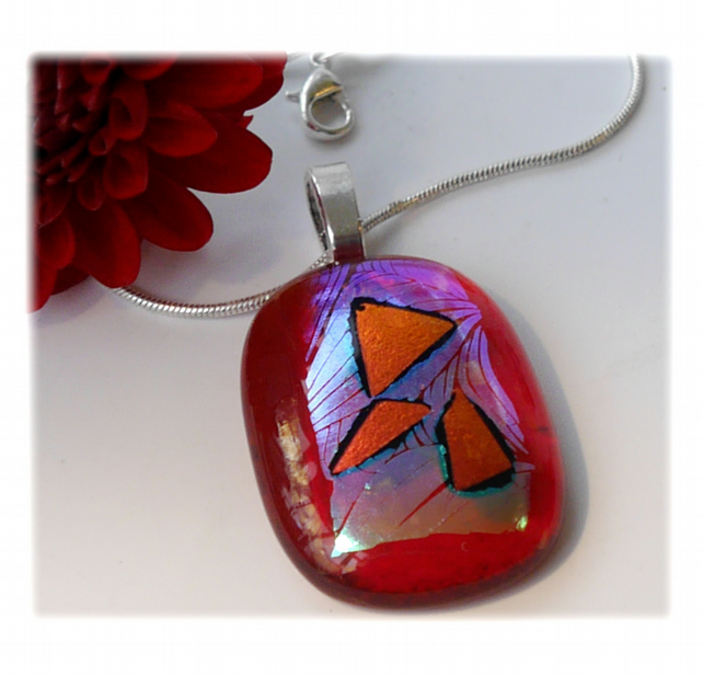 Dichroic Glass Pendant 115 Red Leaf Triangles with silver plated chain