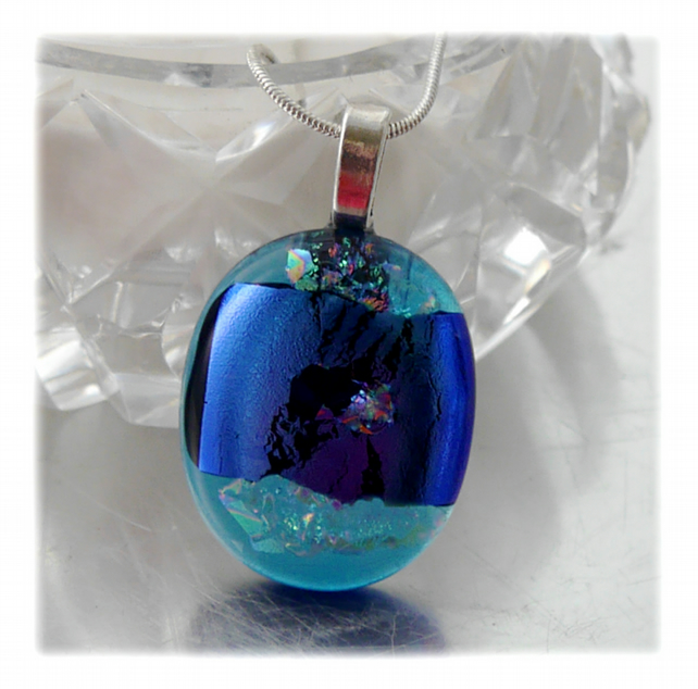 Dichroic Glass Pendant 121 Aqua Blue Shimmer with silver plated chain