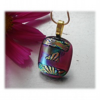 Dichroic Glass Pendant 117 Plum Florentine Handmade and gold plated chain