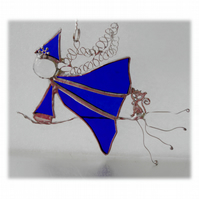 Witch on Broomstick Suncatcher Stained Glass Blue 049 Mavis