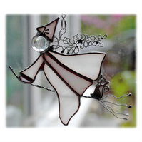 Witch on Broomstick Suncatcher Stained Glass White 047 Mildred