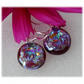 Handmade Fused Dichroic Glass Earrings 206 Cranberry Aqua shimmer