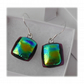 Handmade Fused Dichroic Glass Earrings 207 Emerald Rainbow on Red