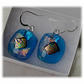 Handmade Fused Dichroic Glass Earrings 208 Turquoise Pink shimmer