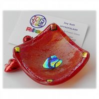 Earring Ring Dish Fused Glass 7cm Red Streaky Dichroic Heart 020
