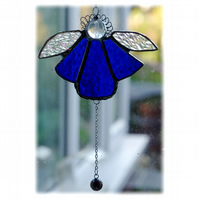 Angel Bell Suncatcher Stained Glass Blue 041