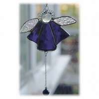 Angel Bell Suncatcher Stained Glass purple 042