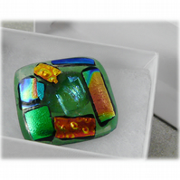 Brooch Dichroic Fused Glass 036 Abstract Handmade