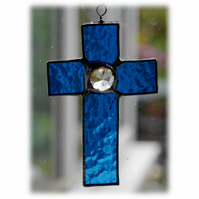 Small Cross Suncatcher Stained Glass Handmade Sky Blue Crystal 003