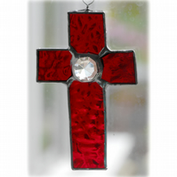 Small Cross Suncatcher Stained Glass Handmade Sky Red Crystal 004
