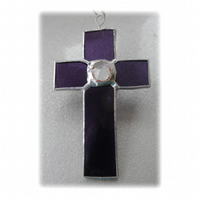 Small Cross Suncatcher Stained Glass Handmade Purple Crystal 002