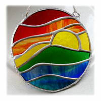 Rainbow Sunset Waves Stained Glass Suncatcher 006