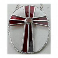 Cross Oval Suncatcher Stained Glass Handmade Red 005
