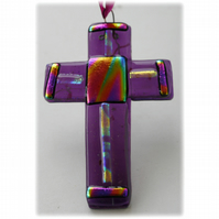 Purple Fused Glass Cross Dichroic Suncatcher 009 10cm