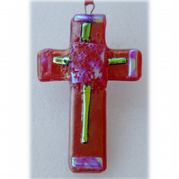 Deep Red Fused Glass Cross Dichroic Suncatcher 011 10cm