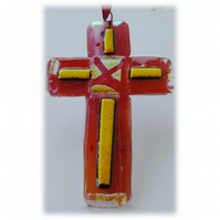 Red Glass Cross Dichroic Suncatcher 013 10cm