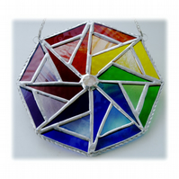 Rainbow Triangle Star Stained Glass Suncatcher Octagon 004