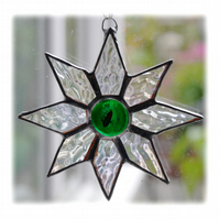 Shiny Star Suncatcher Stained Glass Dichroic Green Handmade 001