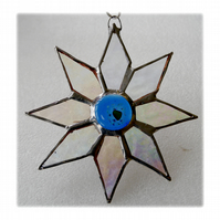 Shiny Star Suncatcher Stained Glass Dichroic Blue Handmade 002
