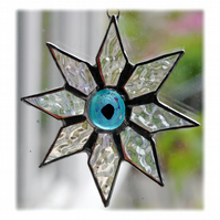 Shiny Star Suncatcher Stained Glass Dichroic Turquoise Handmade 003