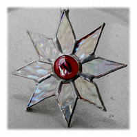 Shiny Star Suncatcher Stained Glass Dichroic Red Handmade 004