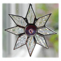 Shiny Star Suncatcher Stained Glass Dichroic Purple Handmade 005