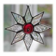 Shiny Star Suncatcher Stained Glass Dichroic Cranberry Handmade 006