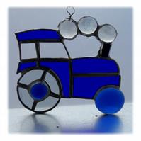 Tractor Suncatcher Stained Glass Blue Handmade 041