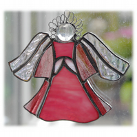 Angel Suncatcher Stained Glass Pink Shiny 020
