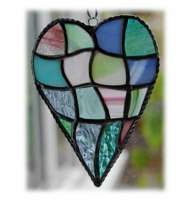 Patchwork Heart Suncatcher Stained Glass Handmade Pastel 036