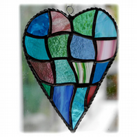 Patchwork Heart Suncatcher Stained Glass Handmade  Brights 037