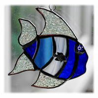 Tropical Fish Suncatcher Stained Glass Handmade Blue 020