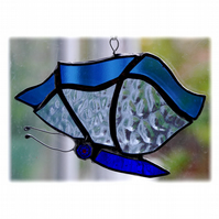 Butterfly Suncatcher Stained Glass Blue Closed Wing 008