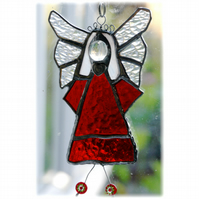 Angel Suncatcher Stained Glass Red Heart Handmade 020