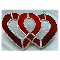 Entwined Heart Suncatcher Stained Glass Red Ruby Wedding 012