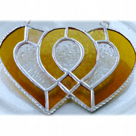 Entwined Heart Suncatcher Stained Glass Golden Wedding 011