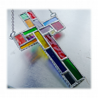 Cross Suncatcher Stained Glass  Patchwork Rainbow Handmade 027