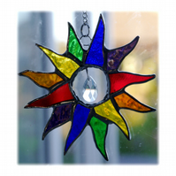 Rainbow Sun Suncatcher Stained Glass 003