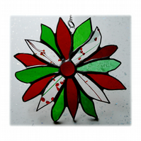Holly Stained Glass Suncatcher Flower Christmas Decoration 006